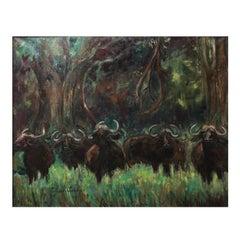 "Art Deco ""African Buffalos"" by Jeanne Thiais Loubris, 1938"
