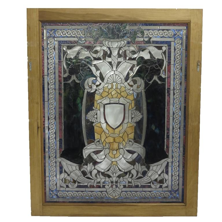Antique Large Stained Glass Window 19th Century
