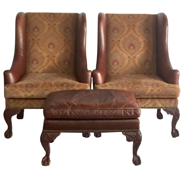 Henredon Leather George II Period Wing Chairs And Ottoman Three Piece Set  For Sale