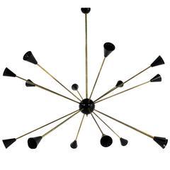 Large 16 Arms Italian Modernist Sputnik Chandelier Brass Stilnovo Style, Italy