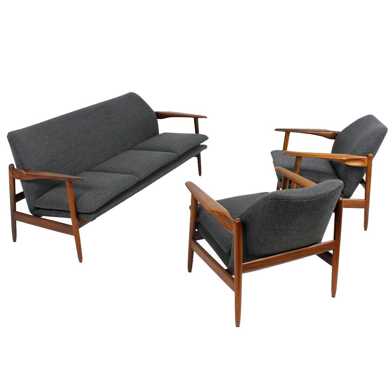 Unique 1960s Organic Danish Modern Teak Sofa And Easy
