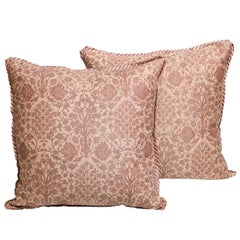 Pair of Fortuny Fabric Cushions in Alberelli Pattern