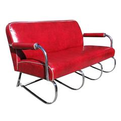 Kem Weber Chrome Tubular Sofa by Loyd Manufacturing