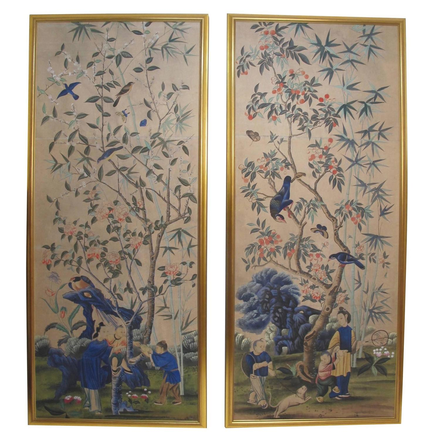 Large Antique Hand Painted Chinese Wallpaper Panels For