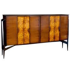 Vintage Burled Wood and Teak Wall Cabinet