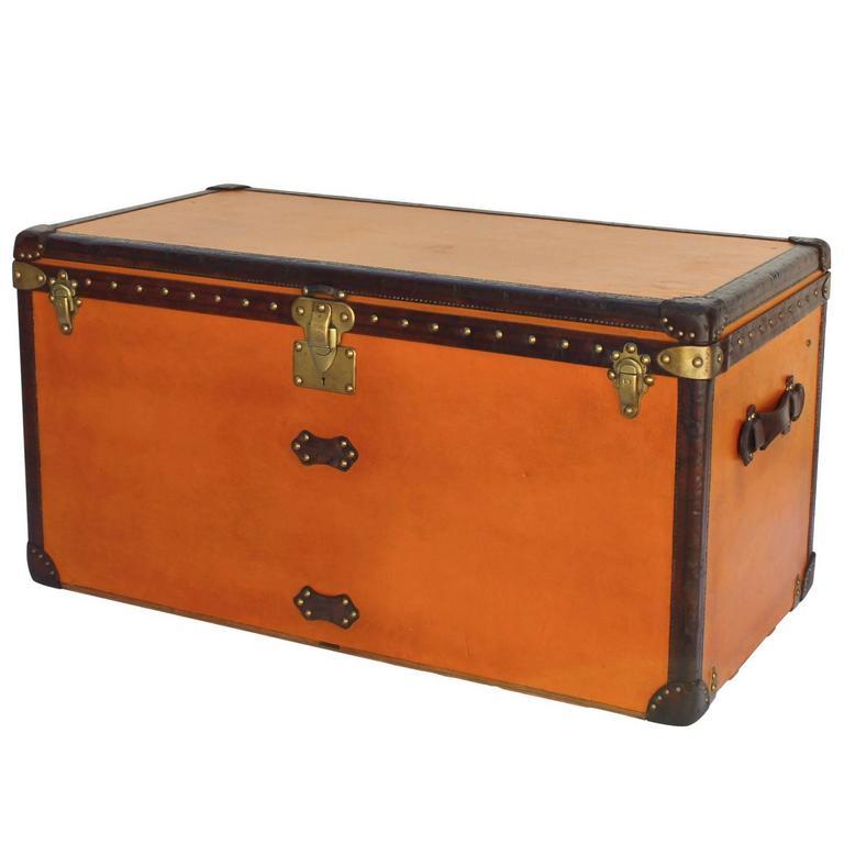 Striking Orange Louis Vuitton Courier Trunk Circa 1930's