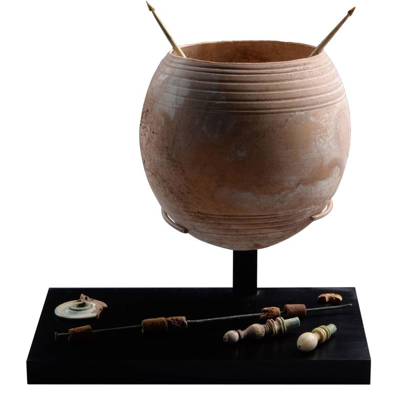 Rare Ancient Roman Ostrich Egg Wool Spinning Set, 100 AD For Sale