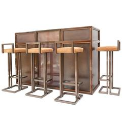 Maison Jansen Rose Metal Bar Set