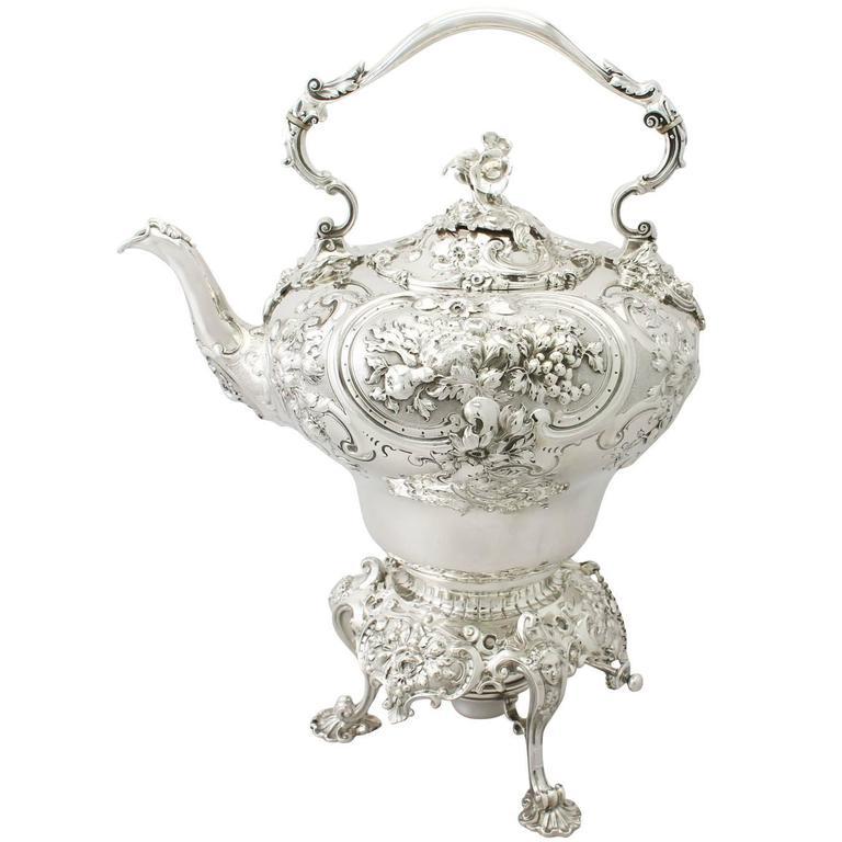 Sterling Silver Spirit Kettle by John Samuel Hunt, Antique Victorian