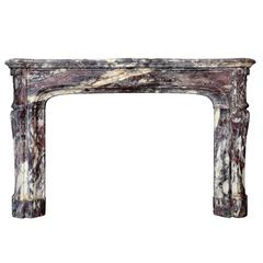 Louis 14 Style Violet Breccia Marble Fireplace, 19th Century