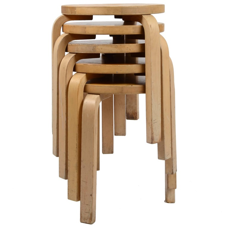 Five Stacking Stools, Model 60, by Alvar Aalto, Designed in 1933 For Sale