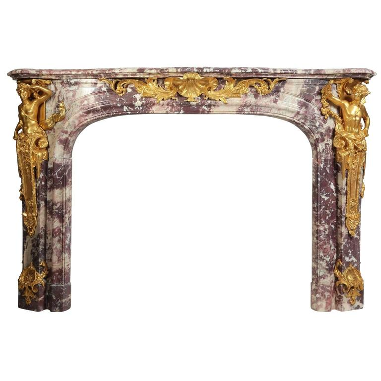 """Palatial French 19th Century Louis XV Style """"Versailles Model"""" Fireplace Mantel"""