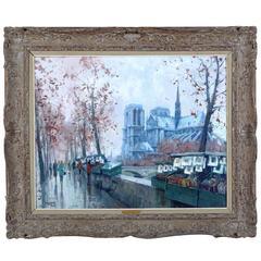 """""""Les Bouquinistes Devant Notre-Dame,"""" Oil on Canvas by Jean Salabet"""