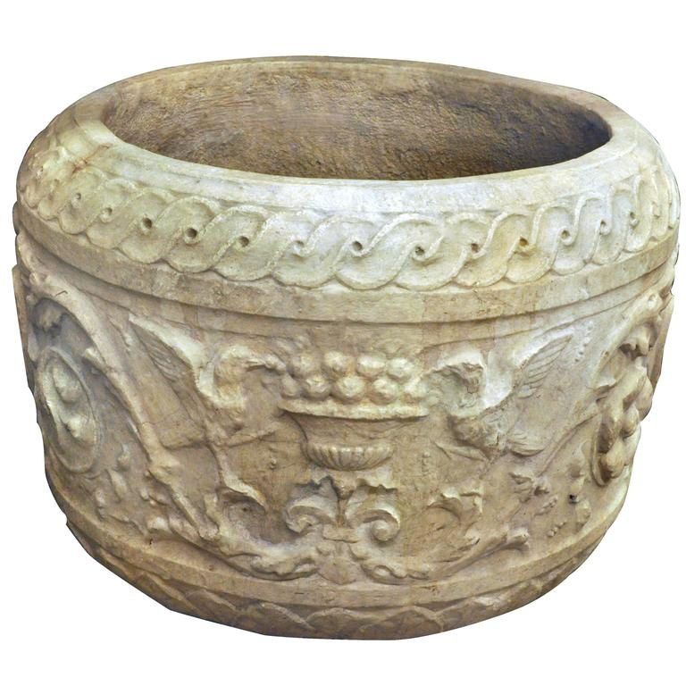 19th Century European Figural Hand-Carved Stone Planter Pot with Birds & Shield For Sale