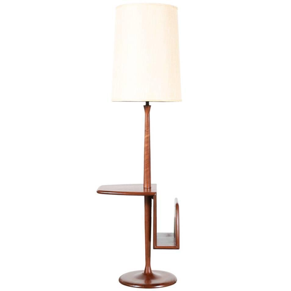 mid century walnut floor lamp with magazine side table by laurel at. Black Bedroom Furniture Sets. Home Design Ideas