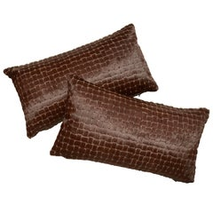 Chocolate Brown Laser Cut Cowhide Hair Lumbar Pillow
