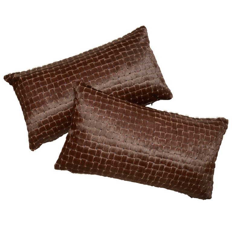 Chocolate Brown Laser Cut Cowhide Hair Lumbar Pillow For Sale