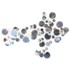 "Curtis Jere ""Raindrops"" Chrome Wall Sculpture for Artsian House"