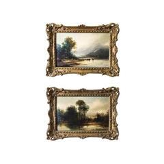 """Antique Pair of Oil Paintings, """"View in Westmorland"""" W. B. Webb"""