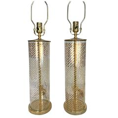Pair of Italian Glass Lamps
