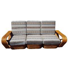 Vintage Mid-Century Rattan Frankl Style Sofa