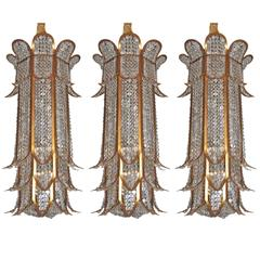 Set of Gilt Metal and Crystal Lanterns