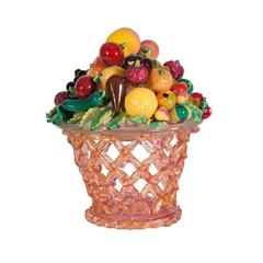 Artisti Barovier Murano Glass Fruit Basket