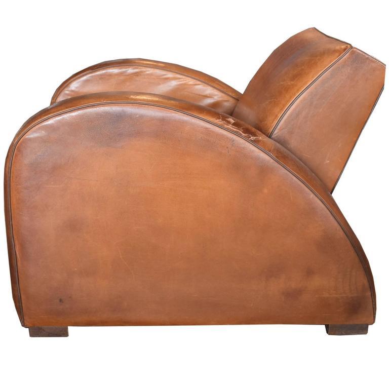 French Leather Racecar Club Chair