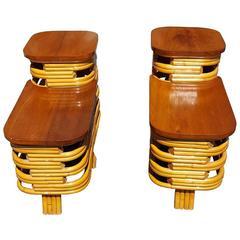Vintage Mid-Century Paul Frankl Style Rattan Side Tables