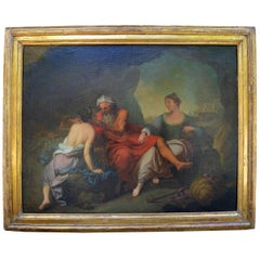 Antique Oil Painting on Canvas with Gilt Frame