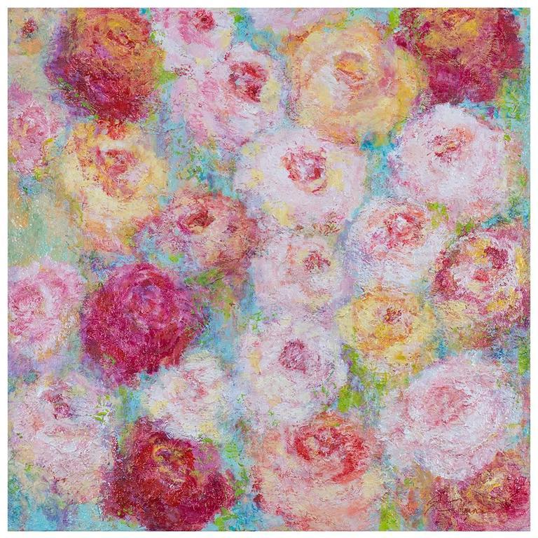 """Roses for Spring,"" Original Mixed Media Painting, Artist Sheema Muneer"