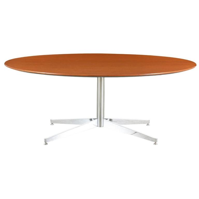 Florence knoll oval walnut dining table with chrome base at 1stdibs