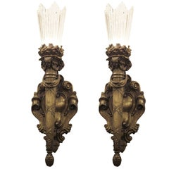1909 Pair of E. F. Caldwell Cast Bronze and Heavy Baccarat Style Crystal Sconces