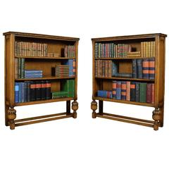 Pair of Early 20th Century Solid Oak Open Bookcases