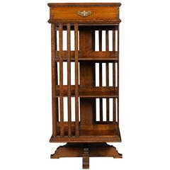 Large Oak Revolving Bookcase