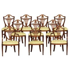 Set of Ten Hepplewhite Dining Chairs