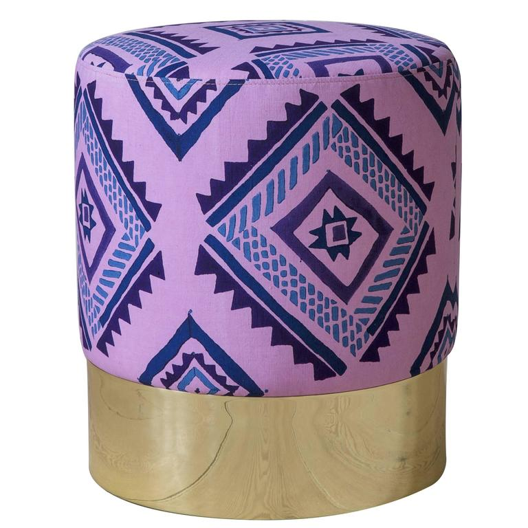 Azucena Stool in Linen Textile For Sale
