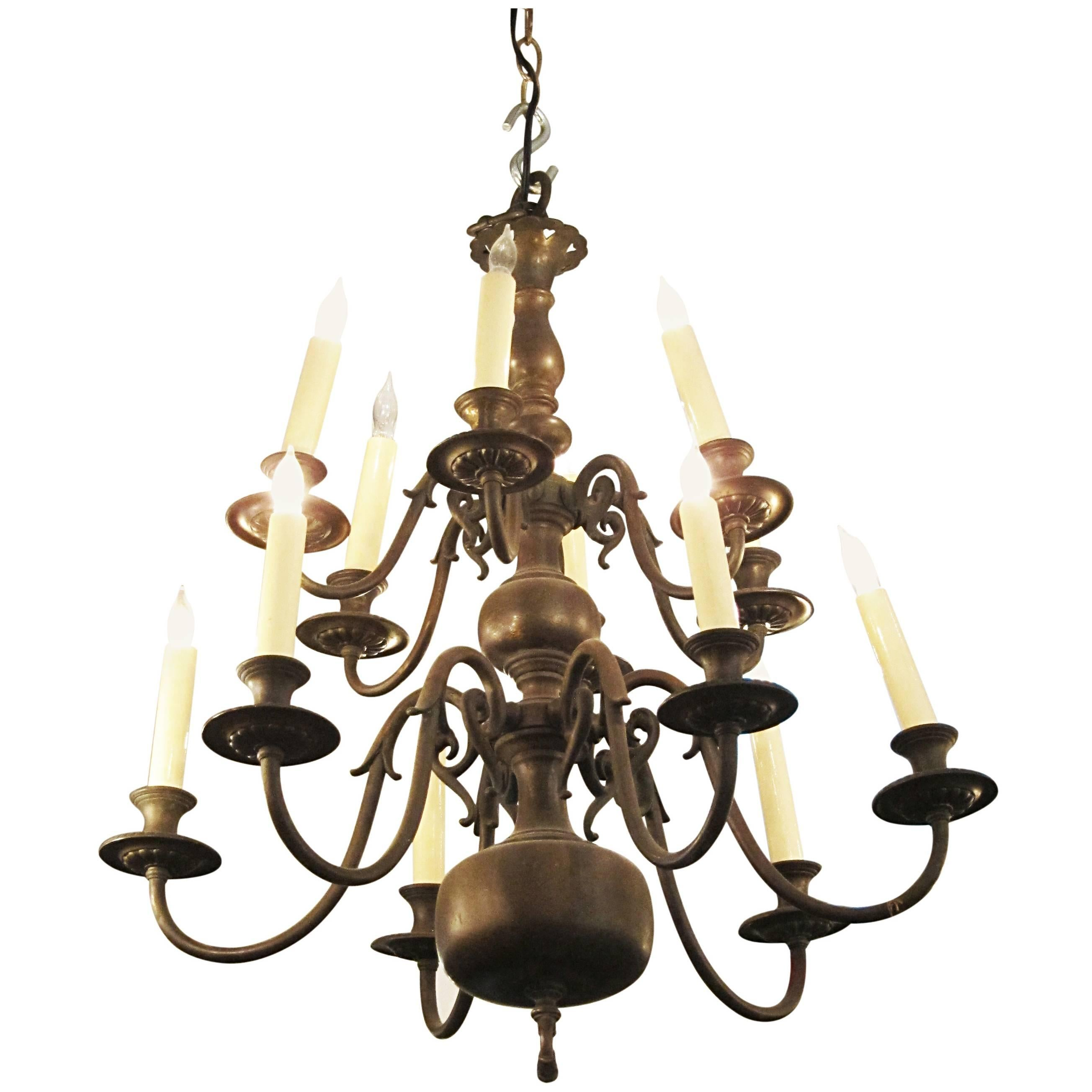 1900s American Made Dutch Colonial Style Twelve-Light Chandelier