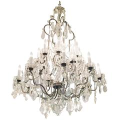 1940s Large Crystal Chandelier from the New York City Plaza Hotel with 20 Lights