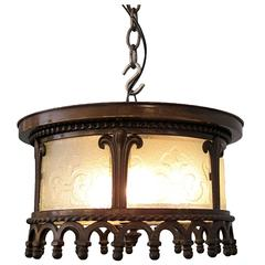 1929 Art Deco Cast Bronze Fleur-de-Lis Round Flush Mount Light