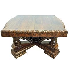 Art Deco Burl Dining Extension Table in Walnut