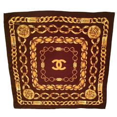 Vintage Chanel Brown and Gold Scarf