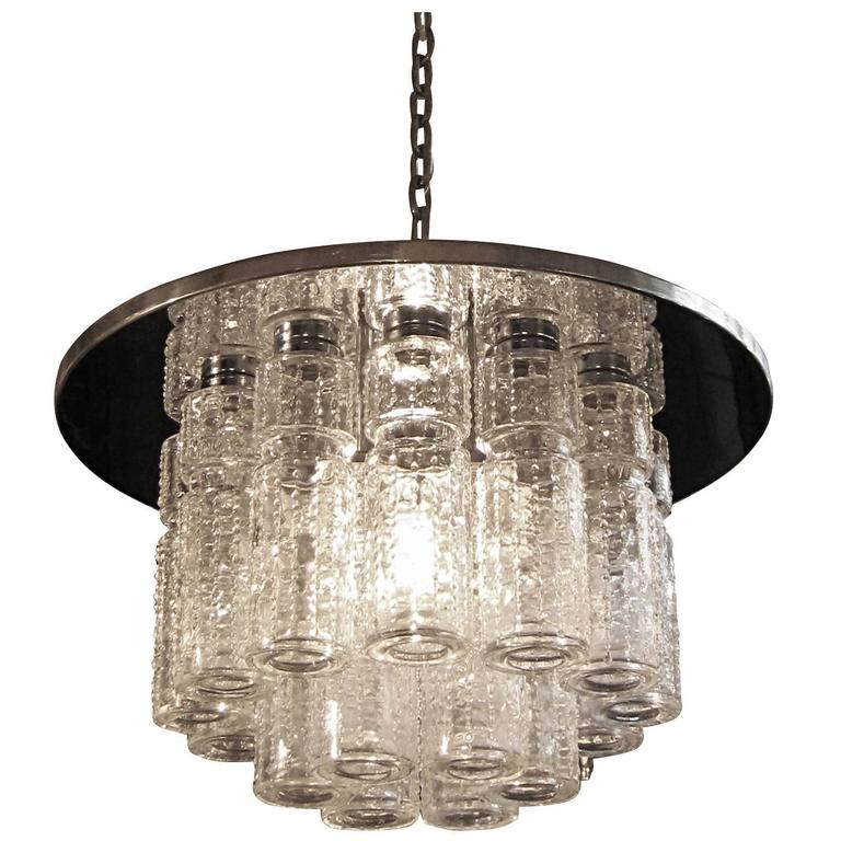 1950s Lightolier Mid-Century Modern Flush Mount Light with Moreno Style Crystals