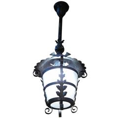 1980s Black Leafy Wrought Iron Lantern with Curved Frosted Glass