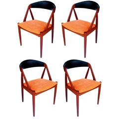 Set of Four Solid Teak Dinning Chairs by Kai Kristiansen Model 31