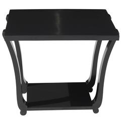French Art Deco Black Lacquered Accent Table, circa 1940s
