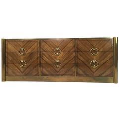 Gorgeous Mastercraft Zebrano Wood Dresser with Brass Accents