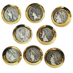 Set of Eight Piero Fornasetti Milano Roman Profile Portrait Plates