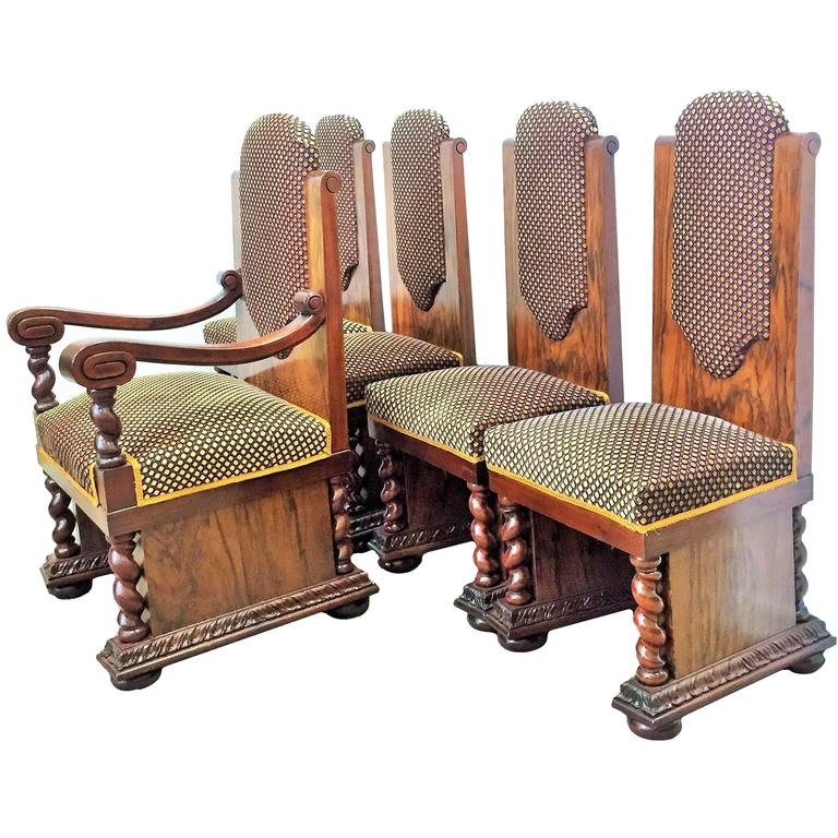 Art Deco Set of Armchair and Four Chairs