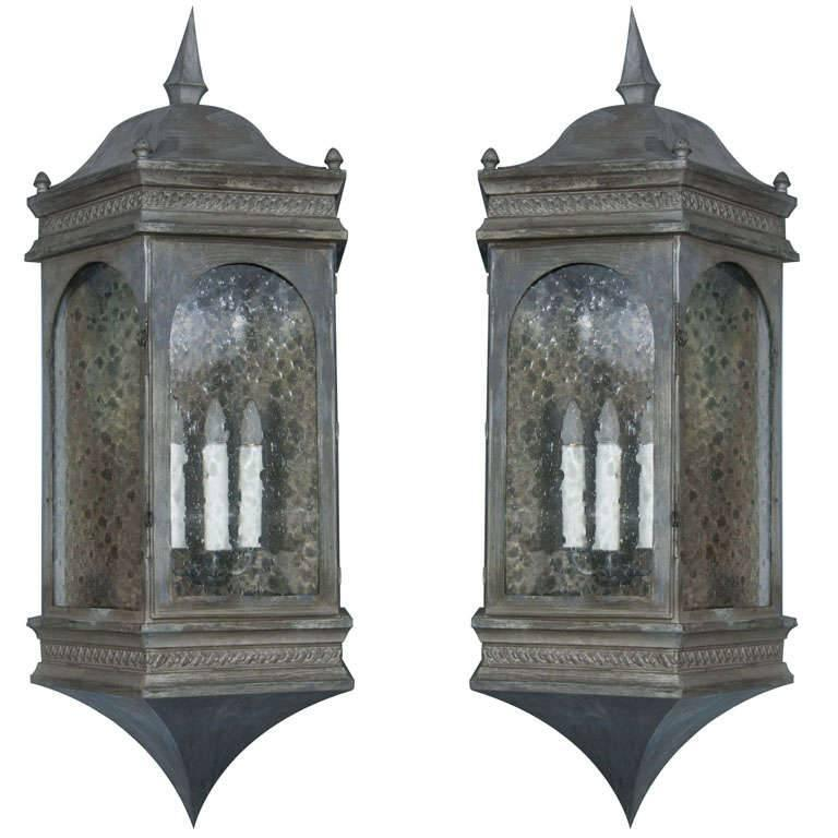 Pair of Pewter Finished Copper Estate Wall Lanterns